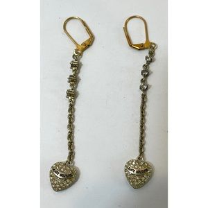 Juicy Couture Pave Heart Long Dangle Earrings